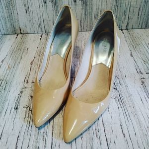 MICHAEL KORS | Glossy Nude Pointed Toe Heels